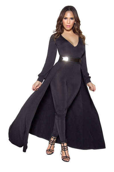 Black Long Sleeve Maxi Bodycon Jumpsuit - MY SEXY STYLES  - 1