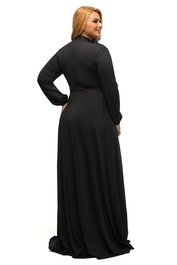 Black Long Sleeves Bodycon Neck Tie Maxi Plus Size Dress