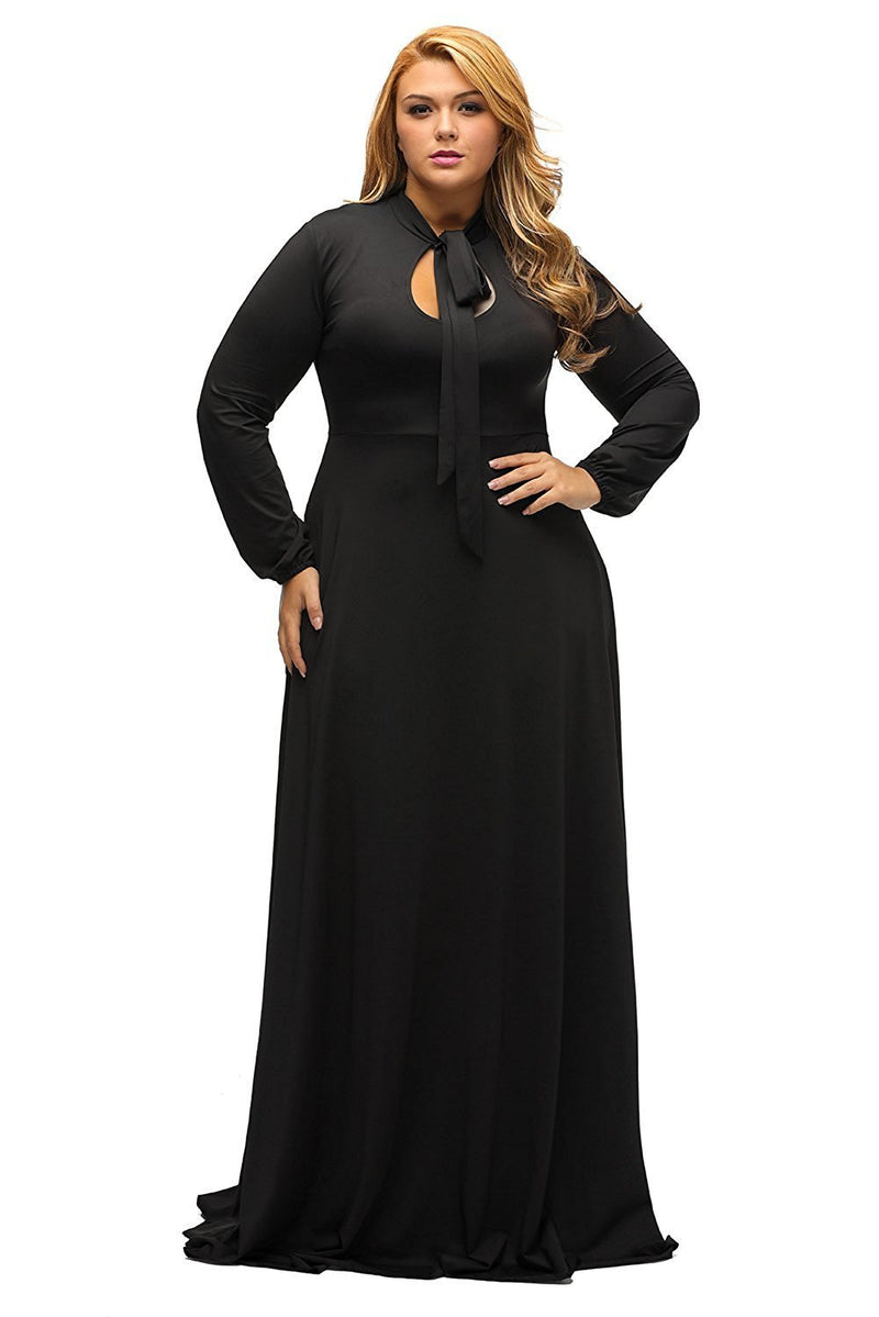 Black Long Sleeves Bodycon Neck Tie Maxi Plus Size Dress - MY SEXY STYLES