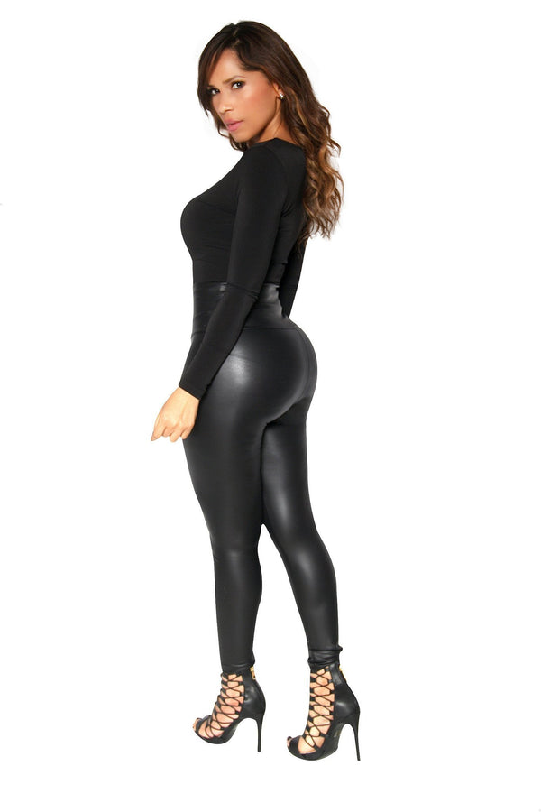 Black Long Sleeves Bodysuit W/ Sheer Plunge V-Neck - MY SEXY STYLES  - 3
