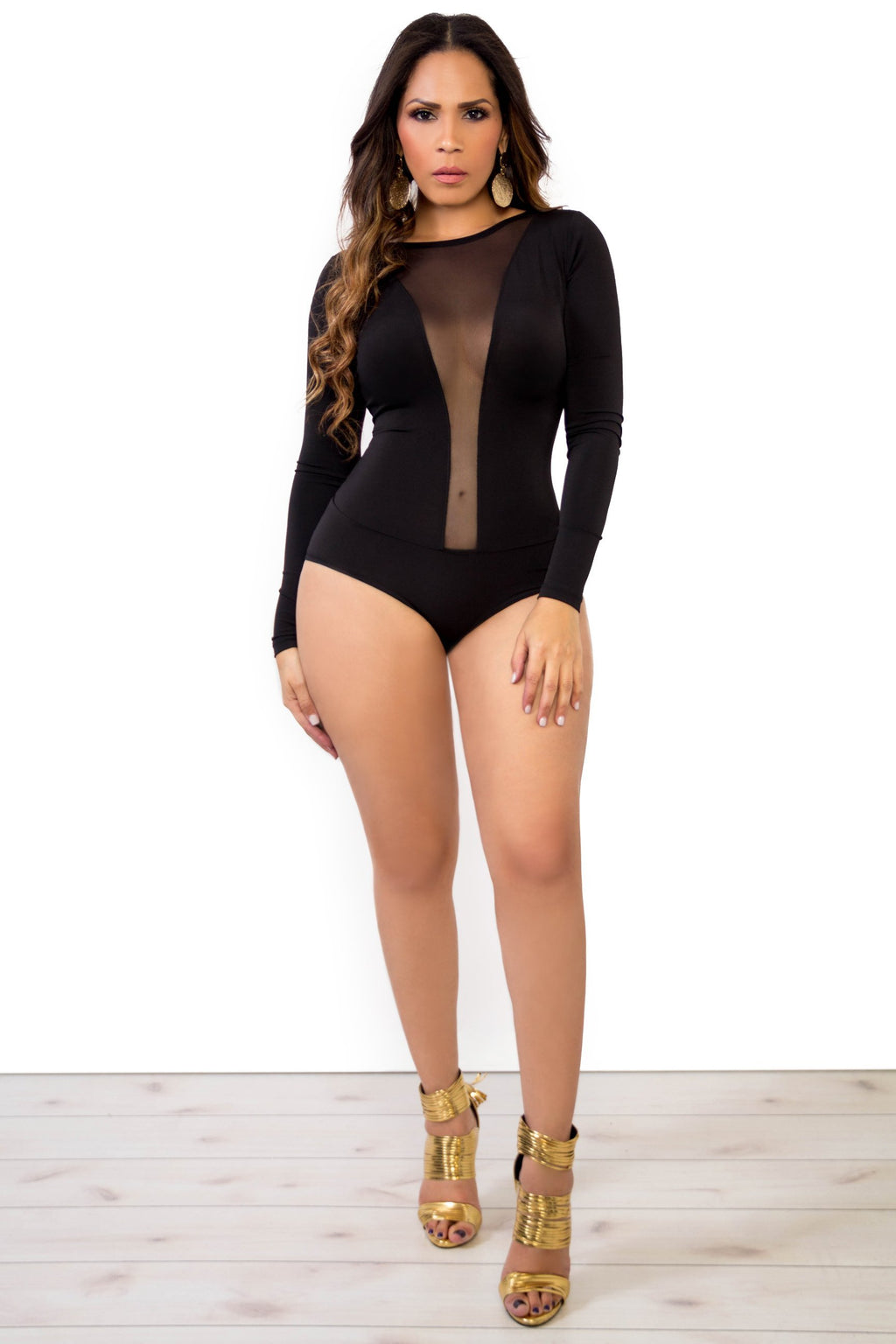 Black Long Sleeves Bodysuit W/ Sheer Plunge V-Neck - MY SEXY STYLES