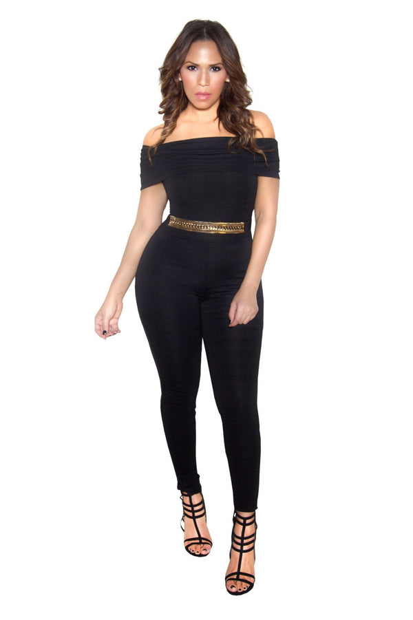 Black Off Shoulder Bandage Bodycon Jumpsuit - MY SEXY STYLES  - 1