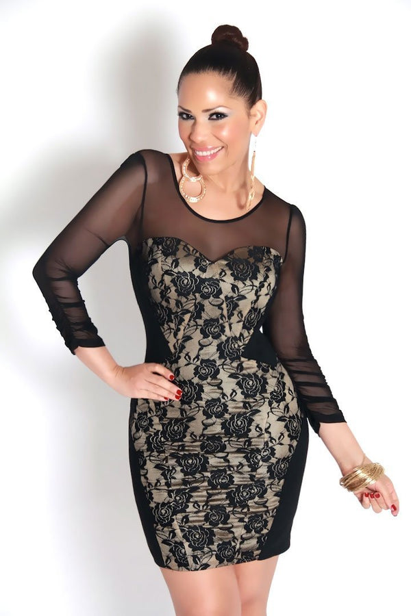 Black On Beige Floral Lace Long Sleeves Sexy Dress