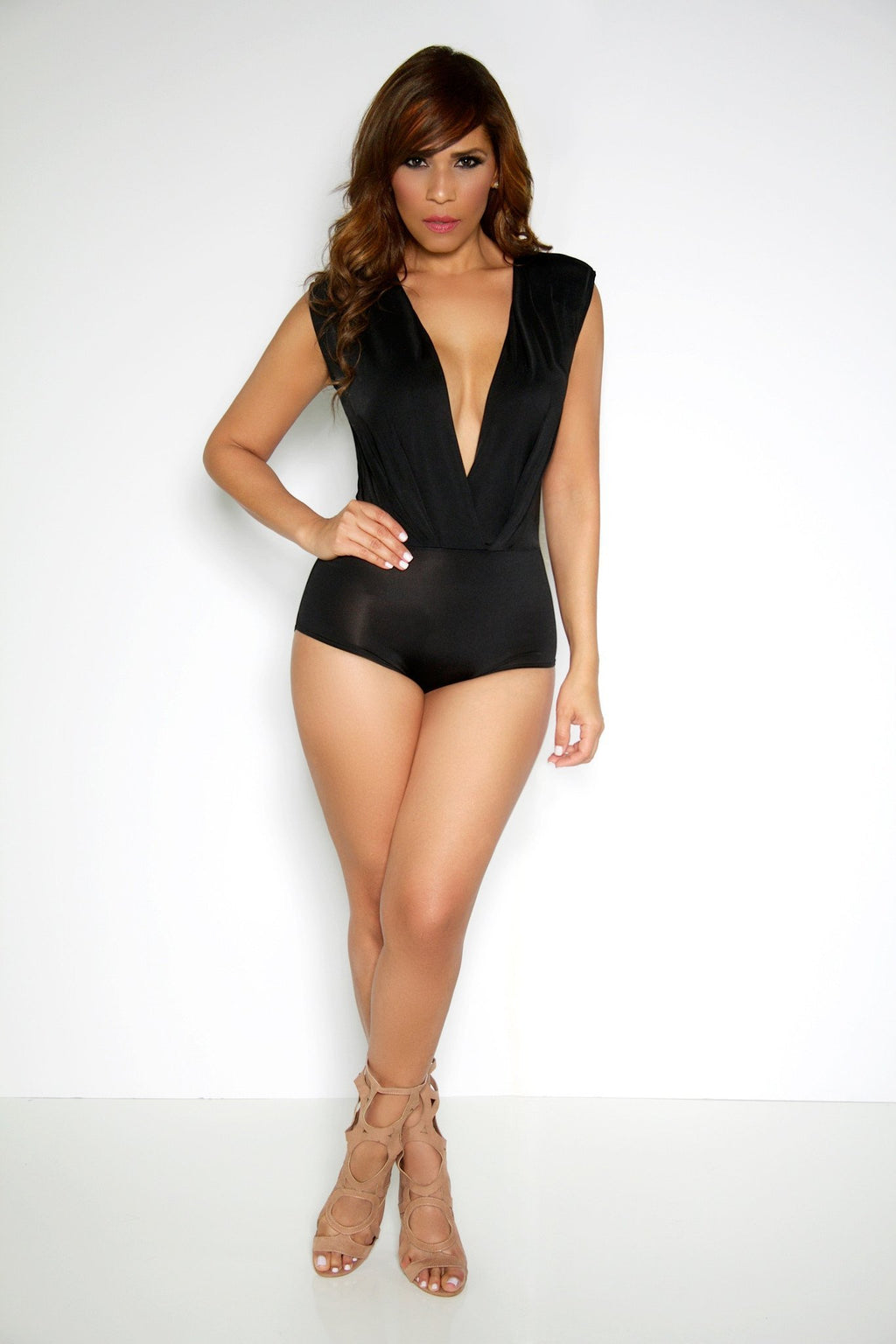 Black Plunging V-Neck Sleeveless Bodysuit Top - MY SEXY STYLES