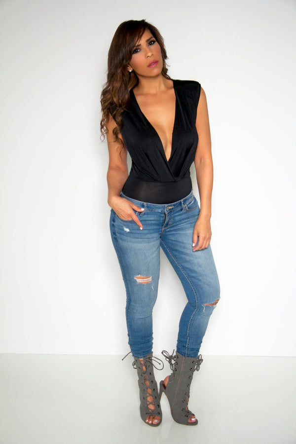 Black Plunging V-Neck Sleeveless Bodysuit Top - MY SEXY STYLES  - 3