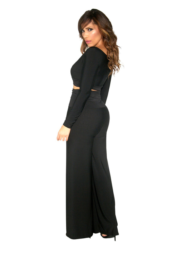 Black Reversible Top and High Waisted Pants Set - MY SEXY STYLES  - 2