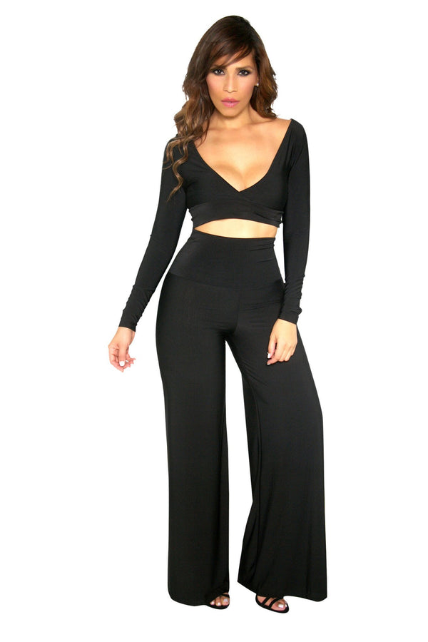 Black Reversible Top and High Waisted Pants Set - MY SEXY STYLES  - 1
