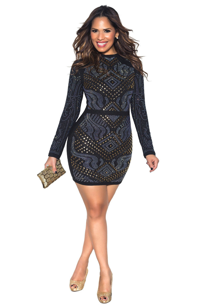 Black Rhinestone Embellished Long Sleeve Bodycon Dress - MY SEXY STYLES