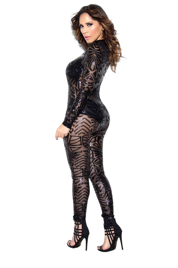 Black Sequin High Neck Bodycon Jumpsuit - MY SEXY STYLES  - 3
