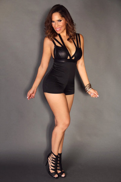 Black Sexy Party Romper W/ Faux Leather Strappy V-Neck - MY SEXY STYLES  - 3