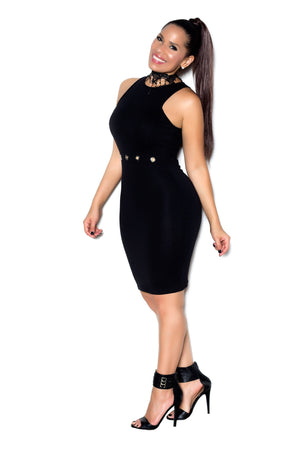 Black Sleeveless Bodycon Dress W/ Waist Keyholes - MY SEXY STYLES
