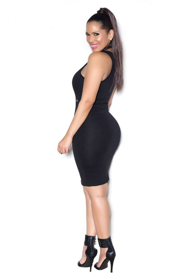 Black Sleeveless Bodycon Dress W/ Waist Keyholes - MY SEXY STYLES  - 3