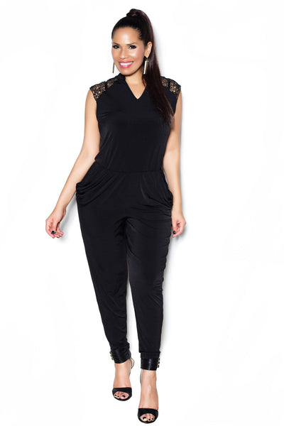 Black Sleeveless Jumpsuit W/ Lace Shoulders and Open Back - MY SEXY STYLES  - 2