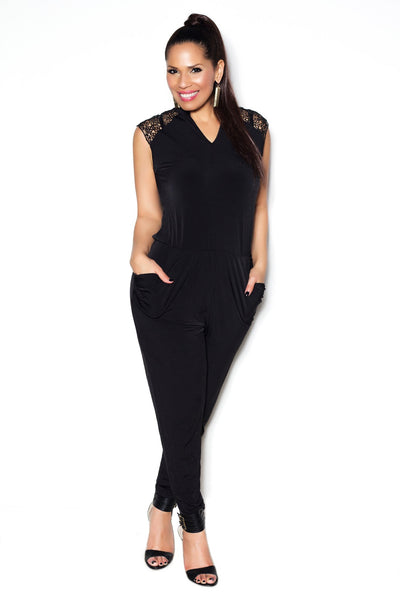 Black Sleeveless Jumpsuit W/ Lace Shoulders and Open Back - MY SEXY STYLES  - 1