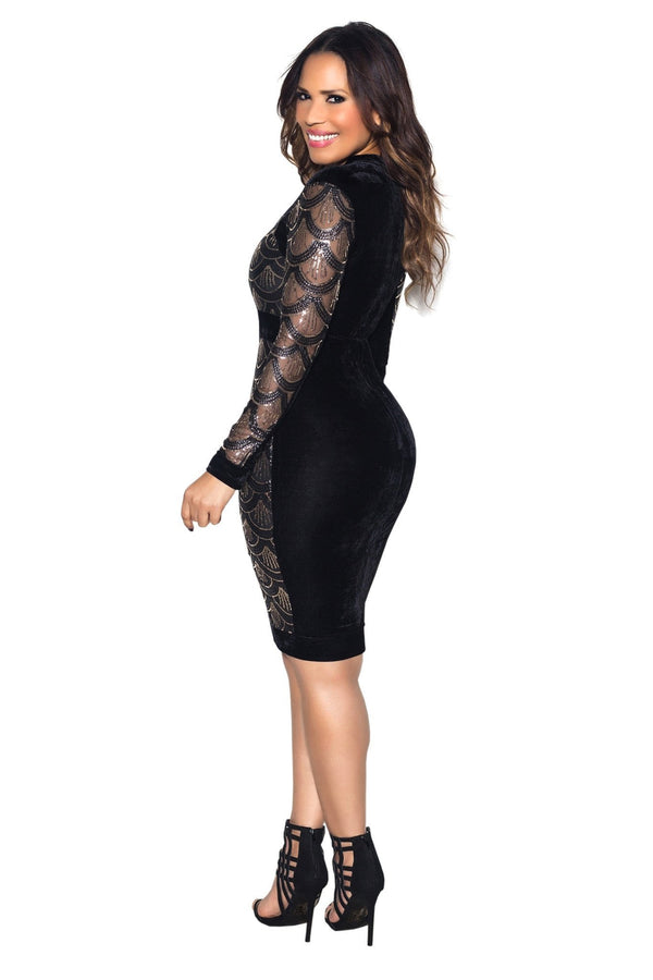 Black Velvet Sequin Pattern Long Sleeve Bodycon Dress - MY SEXY STYLES  - 5