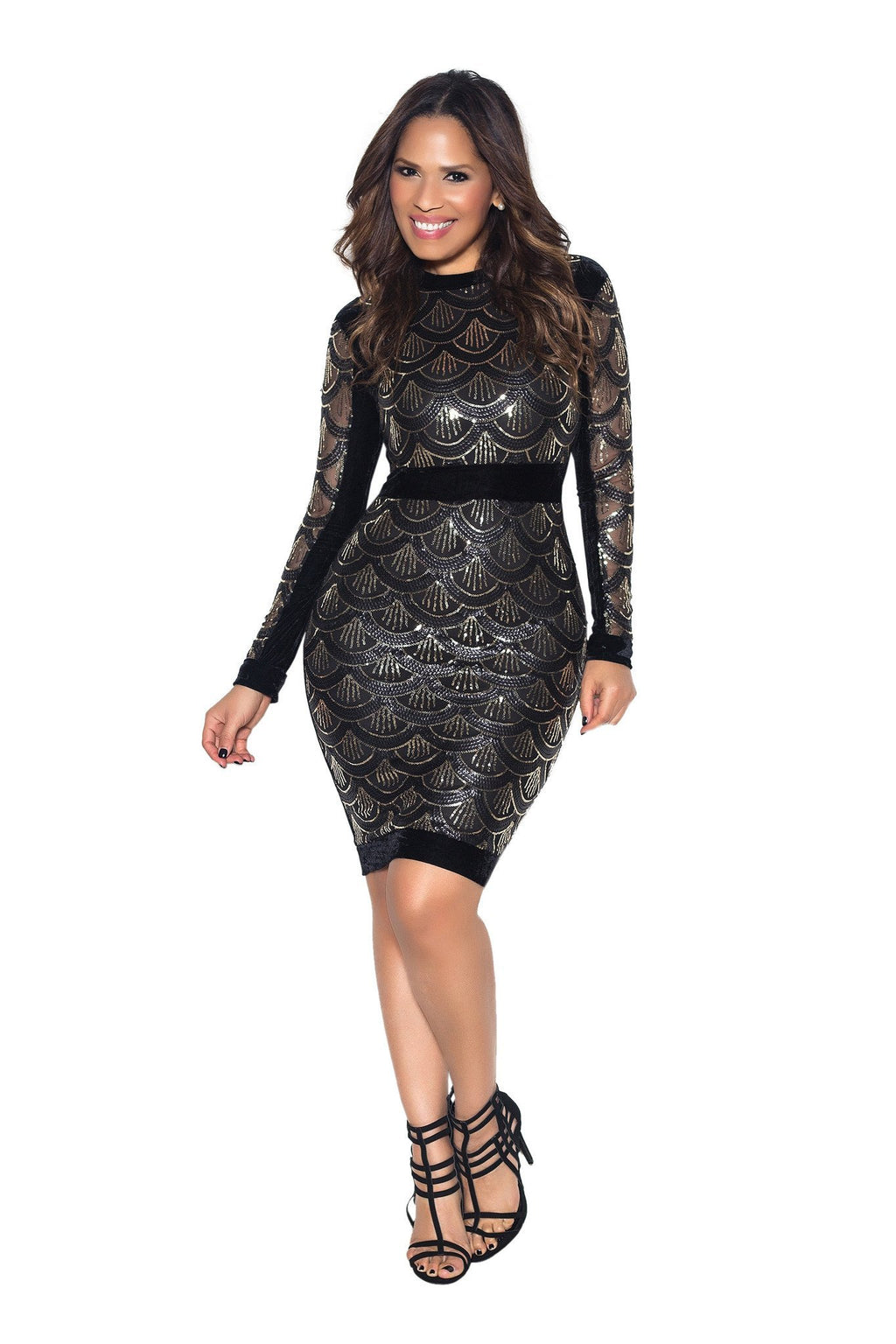 Black Velvet Sequin Pattern Long Sleeve Bodycon Dress - MY SEXY STYLES