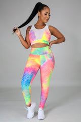 Color Explosion Tie Dye High Waisted Textured Leggings Two Piece Set
