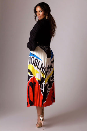 Blare Multi-Color Print Pleated Skirt