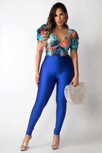 Blu Floral Print V-Neck Sheer Puff Sleeves Bodysuit