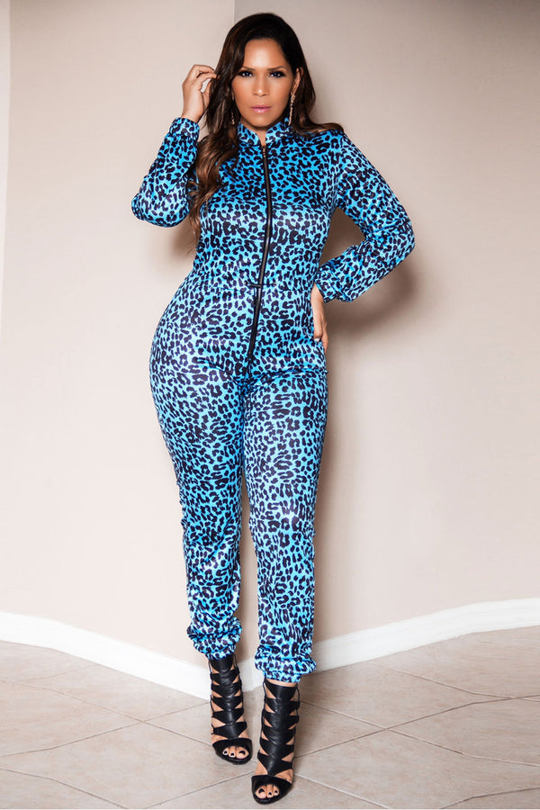 Eliana Elastic Waist Cheetah Print Long Sleeves Zip Up Jumpsuit