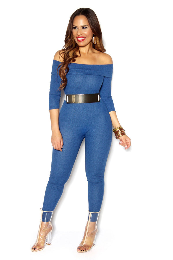 Blue Off Shoulder Jegging Bodycon Jumpsuit - MY SEXY STYLES