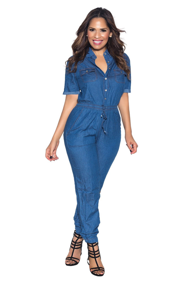 Blue Chambray Loose Fit Button Up Jumpsuit - MY SEXY STYLES