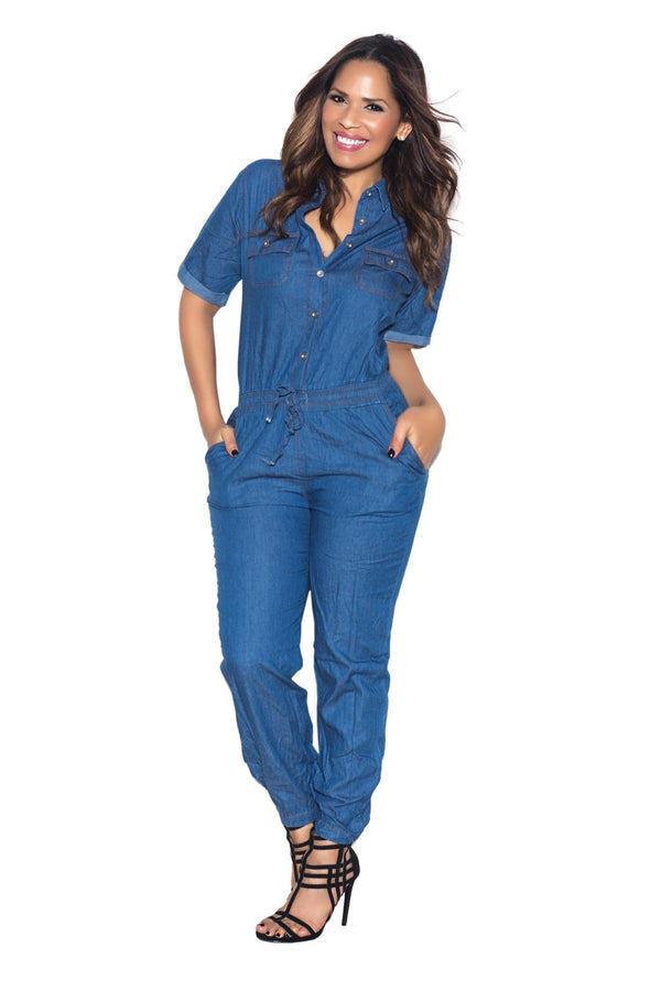Blue Chambray Loose Fit Button Up Jumpsuit