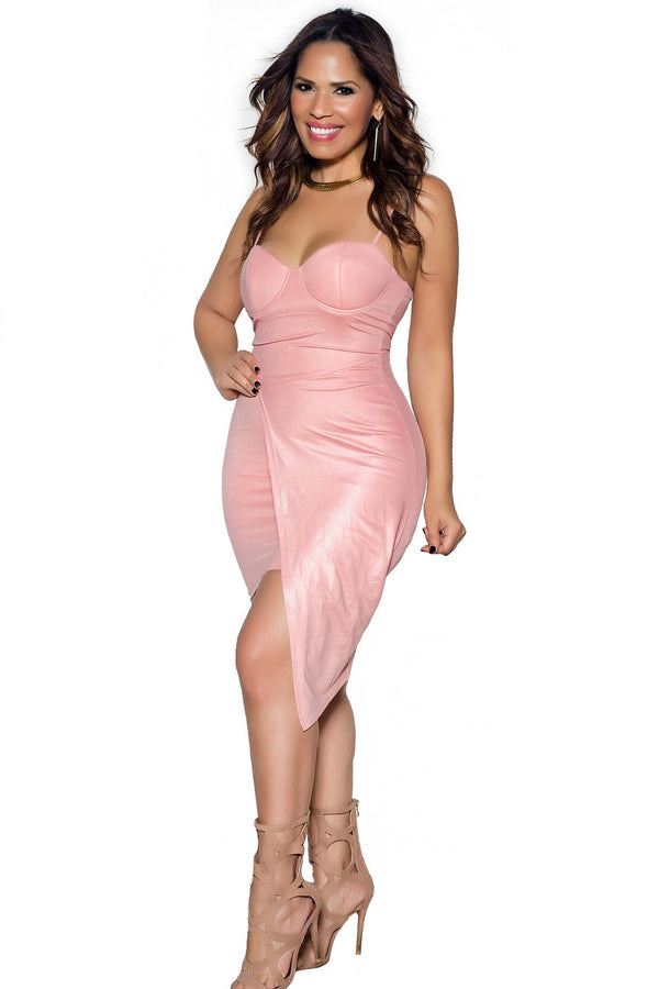 Blush Asymmetrical Bodycon Bustier Dress - MY SEXY STYLES  - 1