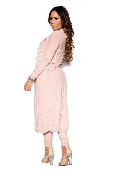 Blush Suede Matching Duster Jacket and Pants Set