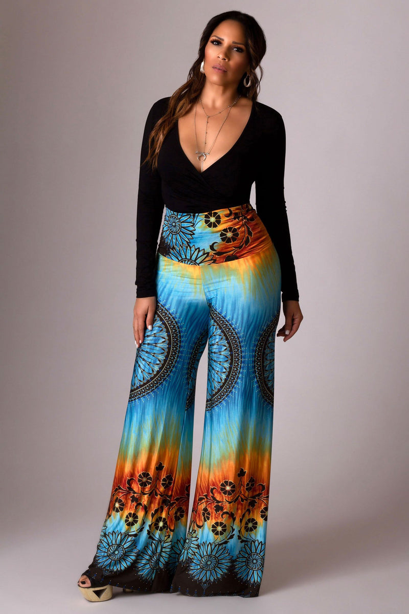 Bohemian Multi Printed High Waisted Palazzo Pants in Teal