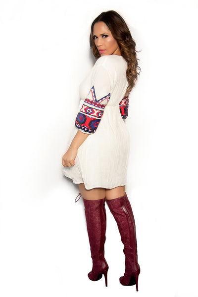 Boho Chic Cream Dress W/Blue Red Embroidered Sleeves - MY SEXY STYLES  - 2