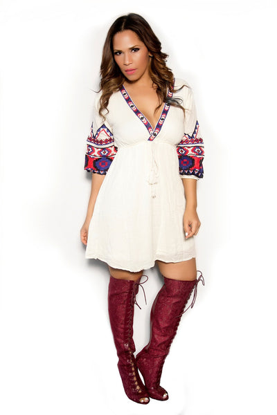 Boho Chic Cream Dress W/Blue Red Embroidered Sleeves - MY SEXY STYLES  - 1