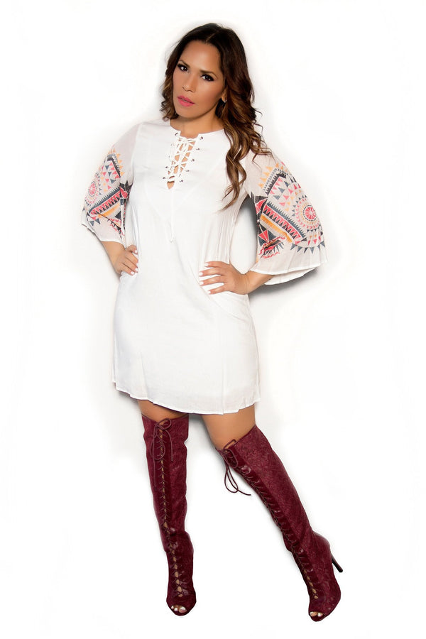 Boho Chic Ivory Dress With Multicolor Embroidery Sleeves - MY SEXY STYLES  - 1