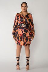 Brenna Chain Print Button Down Shirt Mini Dress