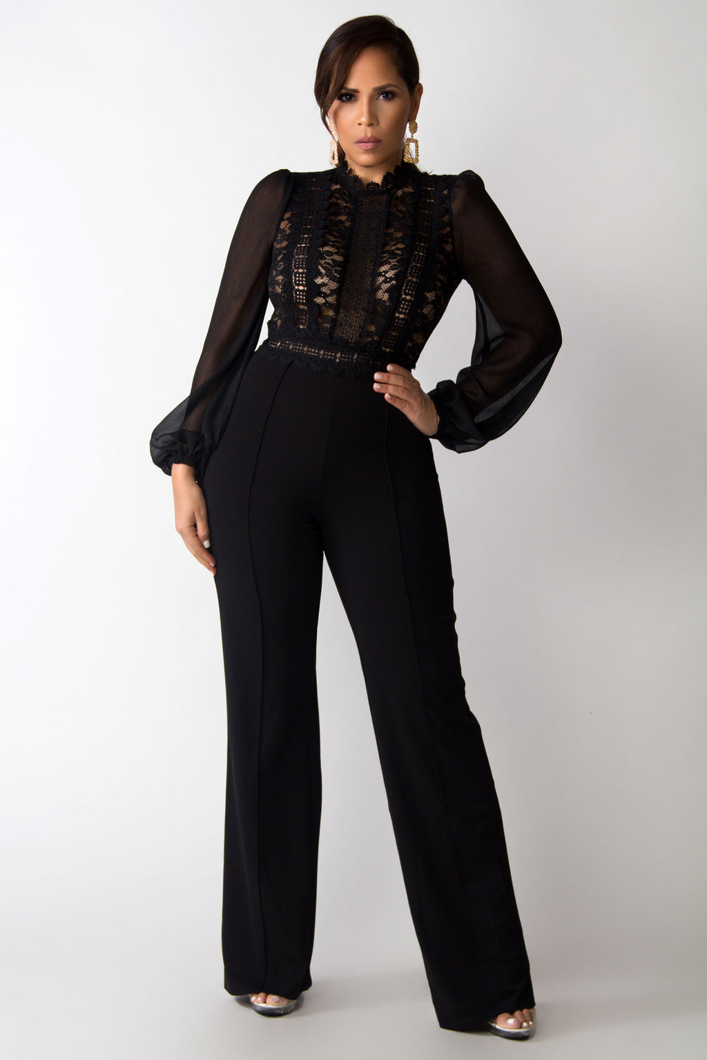 Brielle Lace Long Sleeves Top Boutique Jumpsuit