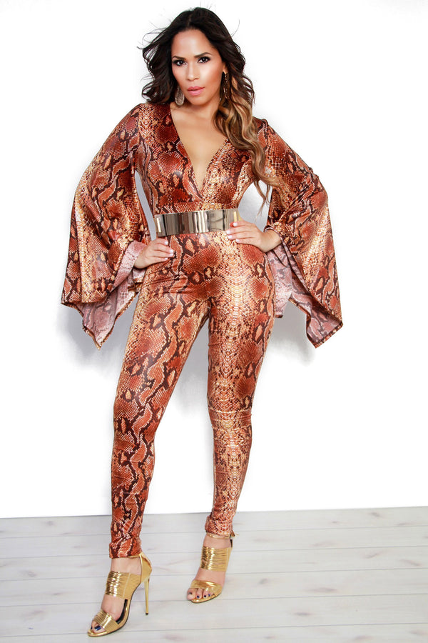 Brown Snake Print Bell Sleeves Plunging Jumpsuit