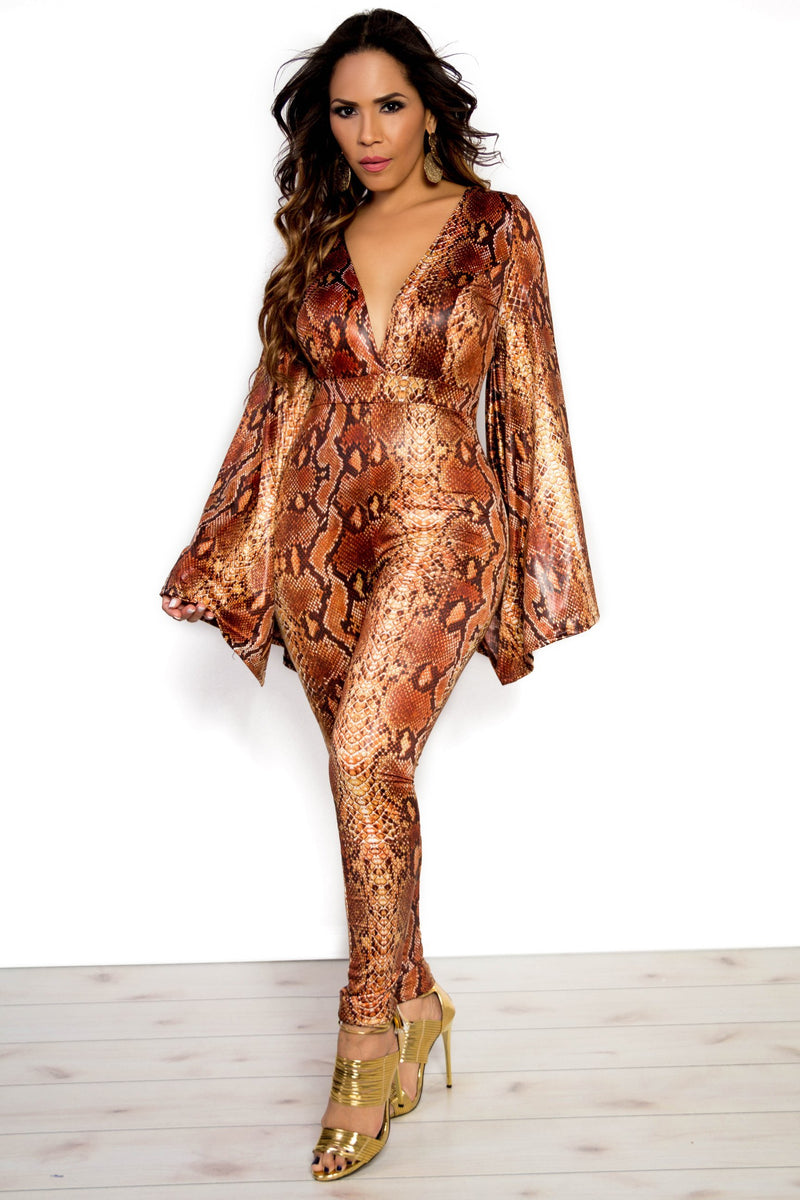 Brown Snake Print Bell Sleeves Plunging Jumpsuit - MY SEXY STYLES
