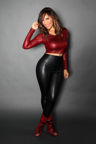 Burgundy Faux Leather Long Sleeved Crop Top - MY SEXY STYLES  - 2