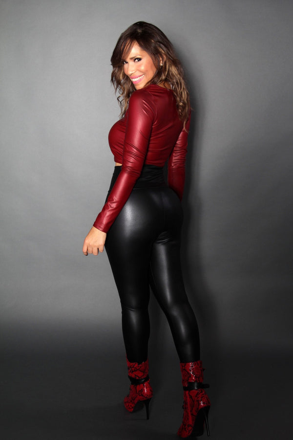 Burgundy Faux Leather Long Sleeved Crop Top - MY SEXY STYLES  - 4