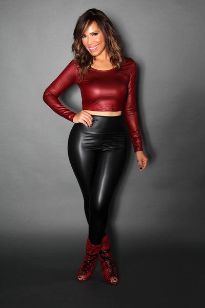 Burgundy Faux Leather Long Sleeved Crop Top - MY SEXY STYLES