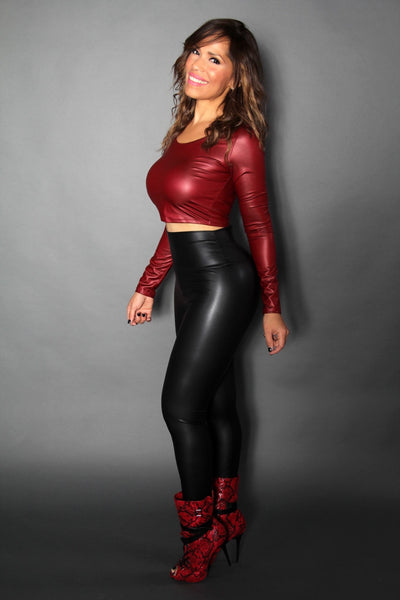 Burgundy Faux Leather Long Sleeved Crop Top - MY SEXY STYLES  - 3
