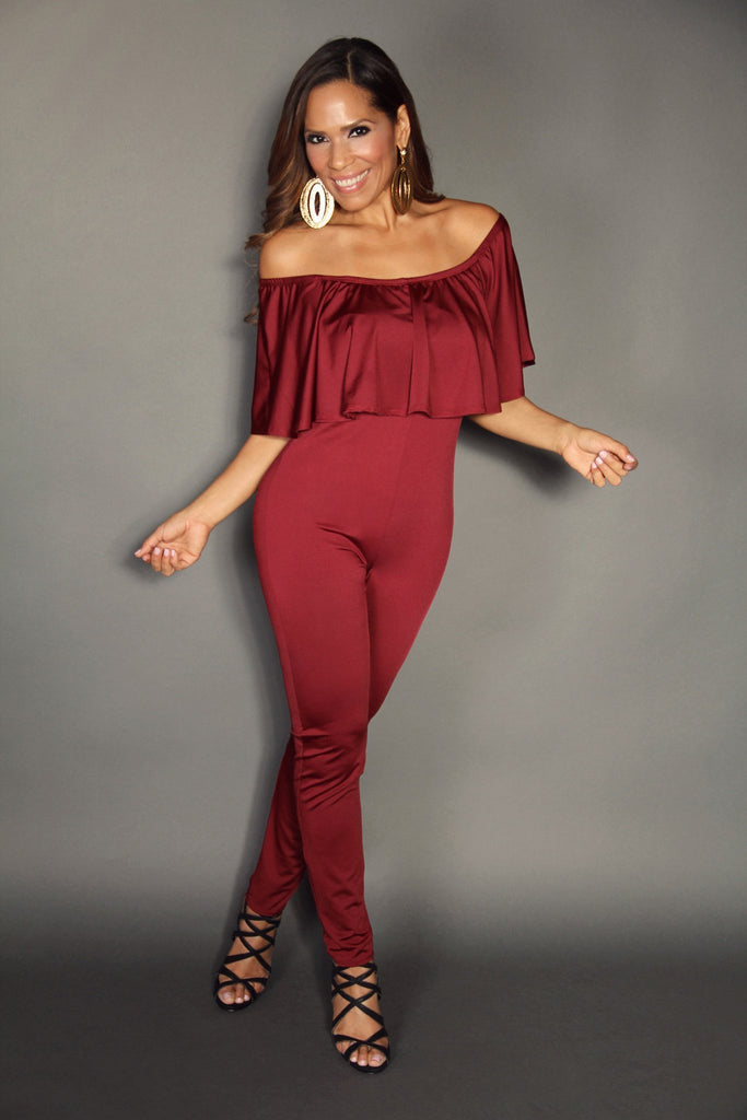 burgundy off the shoulder ruffle top stylish jumpsuit (plus size)