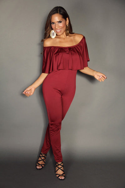 Burgundy Off The Shoulder Ruffle Top Stylish Jumpsuit (PLUS SIZE) - MY SEXY STYLES  - 1