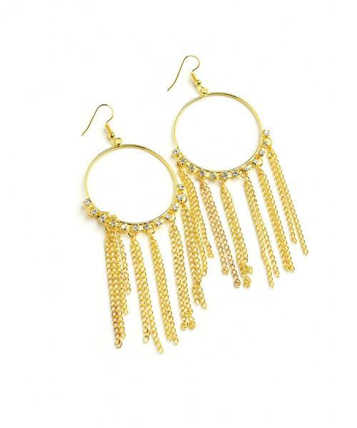 CHAIN TASSEL DROP MULTI STONE EARRINGS - MY SEXY STYLES