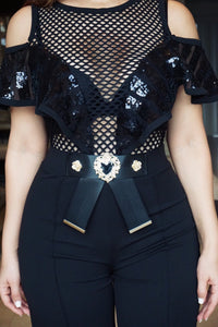 Charlotte Sequins Fishnet Top Jumpsuit W/ Buckle Detail - MY SEXY STYLES