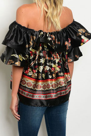 Dahianne Off The Shoulder Flower Print Blouse - MY SEXY STYLES