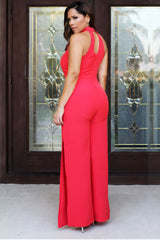 Callie Coral High Neck Strappy Front W/ Side Slits Jumpsuit