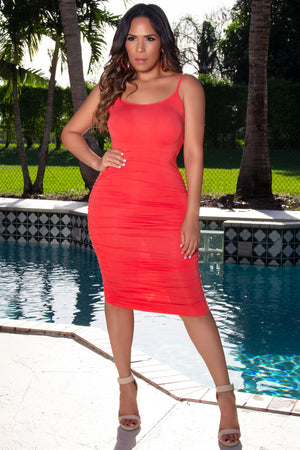 Camila Ruched Spaghetti Strap Solid Midi Dress in Coral - MY SEXY STYLES