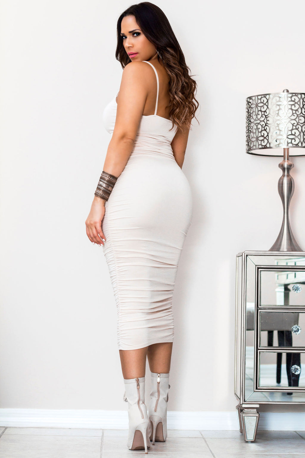 Camila Ruched Spaghetti Strap Solid Midi Dress in Beige - MY SEXY STYLES