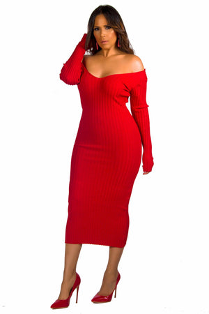 Carly Knit Sweater Long Sleeves Bodycon Midi Pencil Dress
